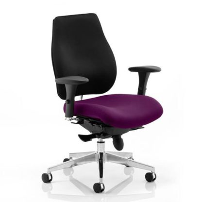 An Image of Chiro Plus Black Back Office Chair With Tansy Purple Seat