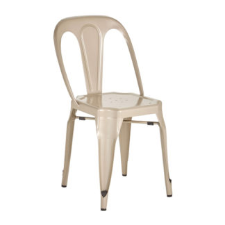 An Image of Dschubba Metal Dining Chair In Champagne