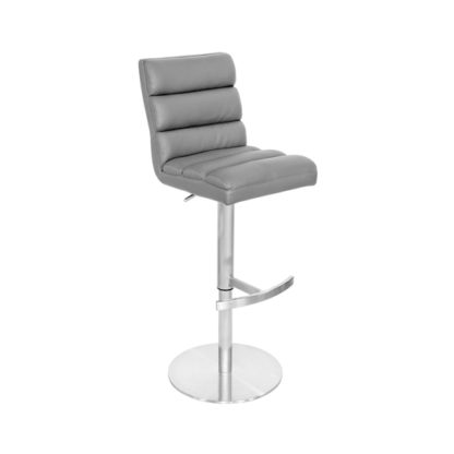 An Image of Bianca Grey Leather Bar Stool With Stainless Steel Base