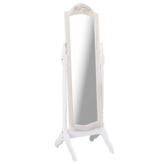 An Image of Julian Cheval Floor Mirror In White And Distressed Effect Wooden