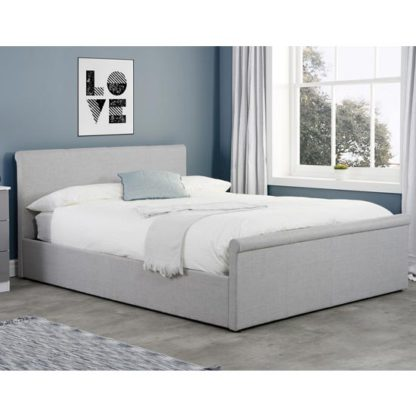 An Image of Stratus Side Ottoman Fabric Double Bed In Grey