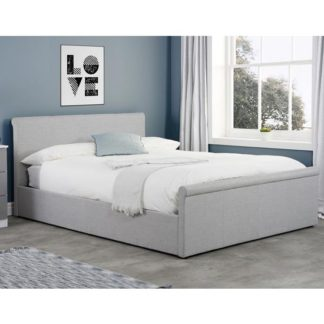 An Image of Stratus Side Ottoman Fabric King Size Bed In Grey
