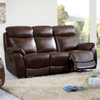 An Image of Pincoya Power Leather 3 Seater Sofa In Tan