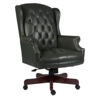 An Image of Chairman Green Traditional Leather Executive Chair