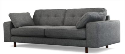 An Image of Content by Terence Conran Tobias, 3 Seater Sofa, Textured Weave Slate, Dark Wood Leg