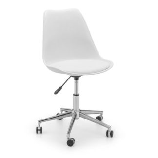 An Image of Erika PU Fabric Office Chair In White And Chrome