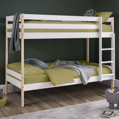 An Image of Nova Wooden Bunk Bed In White Lacquer