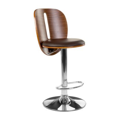 An Image of Wesley Bar Stool In Brown Faux Leather With Chrome Base