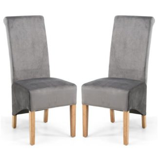 An Image of Krista Grey Brushed Velvet Dining Chair In A Pair