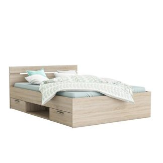 An Image of Astro Storage Double Bed In Brushed Oak With 2 Drawers