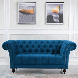 An Image of Chester Fabric 2 Seater Sofa In Midnight Blue