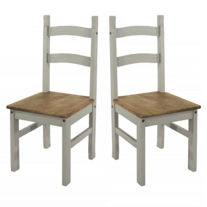 An Image of Corina Wooden Dining Chairs In Grey Washed Wax In A Pair