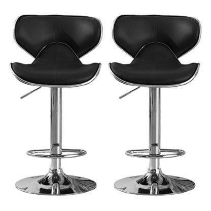 An Image of Hillside Black PU Leather Bar Stool In Pair With Chrome Base