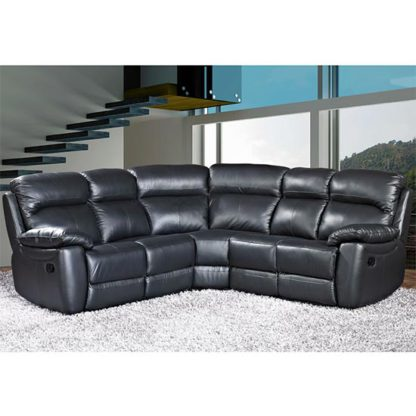 An Image of Aston Leather Corner Recliner Sofa In Black