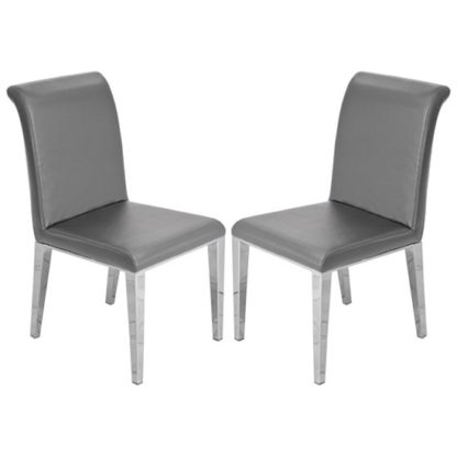 An Image of Kirkland Grey Leather Dining Chairs In Pair With Chrome Legs