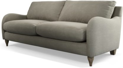 An Image of Custom MADE Sofia 3 Seater Sofa, Athena Putty with Light Wood Leg
