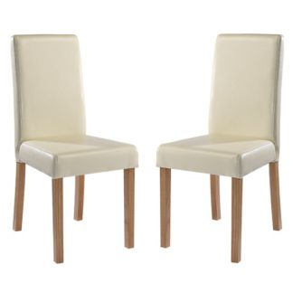An Image of Oakridge Cream Finish Dining Chairs In Pair