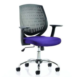 An Image of Dura Black Back Office Chair With Tansy Purple Seat