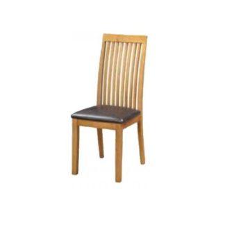 An Image of Hart Wooden Slatback Dining Chair In Oak Finish