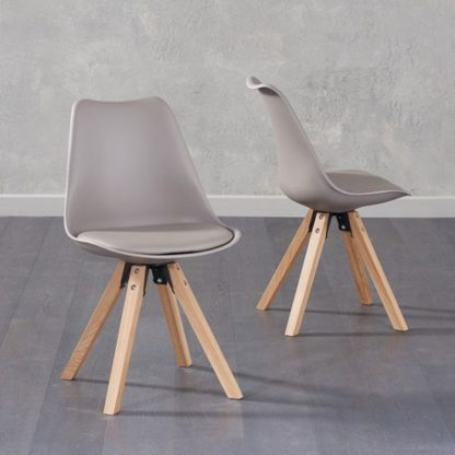 An Image of Tupa Taupe Faux Leather Chairs In Pair With Square Leg