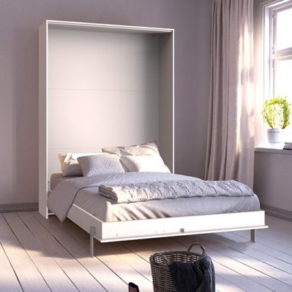 An Image of Juist Wooden Vertical Foldaway King Size Bed In White