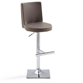 An Image of Twist Bar Stool Brown Faux Leather With Square Chrome Base