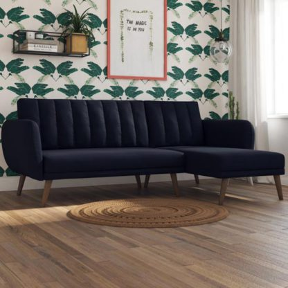 An Image of Brittany Linen Sectional Sofa Bed In Navy Blue With Wooden Legs