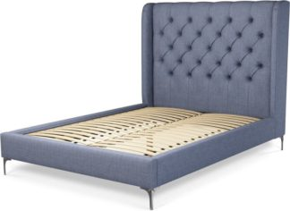 An Image of Custom MADE Romare Double Bed, Denim Cotton with Nickel Legs