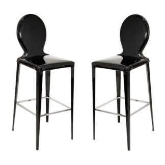 An Image of Tequila Black PVC Bar Stool In Pair