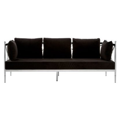 An Image of Kurhah 3 Seater Sofa In Black With Silver Lattice Sides