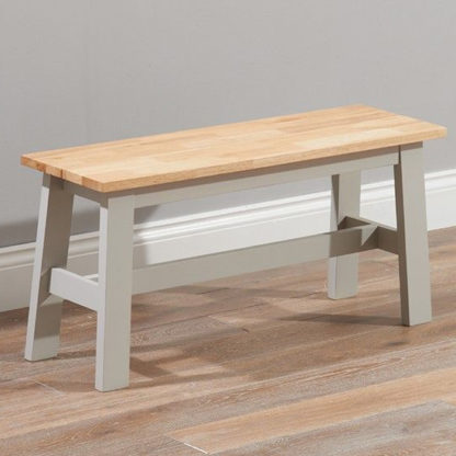 An Image of Antlia Wooden Small Dining Bench In Oak And Grey