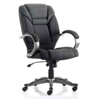 An Image of Galloway Fabric Executive Office Chair In Black With Arms