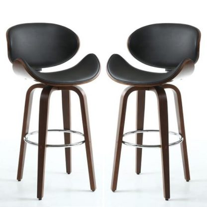 An Image of Clapton Bar Stools In Black PU And Walnut In A Pair