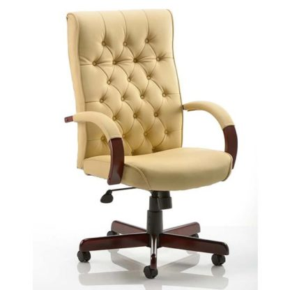 An Image of Chesterfield Leather Office Chair In Cream With Arms