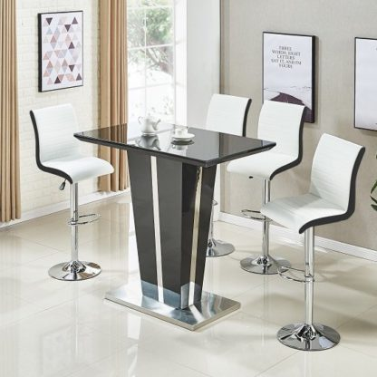 An Image of Memphis Glass Bar Table High Gloss Black 4 Ritz White Stools