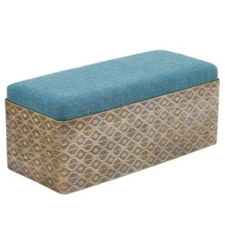 An Image of Royalcraft Contemporary Bench In Iron And Fabric