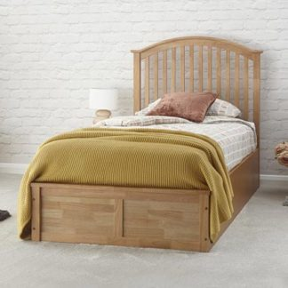 An Image of Madrid Ottoman Wooden Single Bed In Natural Oak