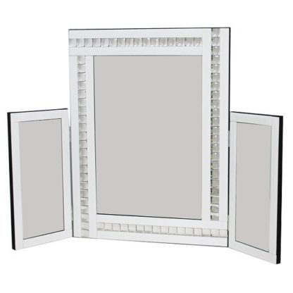 An Image of Elena Dressing Table Mirror In White With Acrylic Crystal Detail