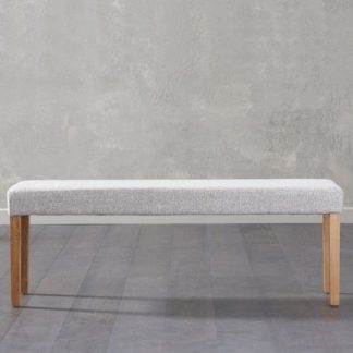 An Image of Miram Large Grey Soft Fabric Dining Bench With Solid Oak Legs