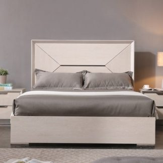 An Image of Canaria King Size Bed In Cream Walnut High Gloss