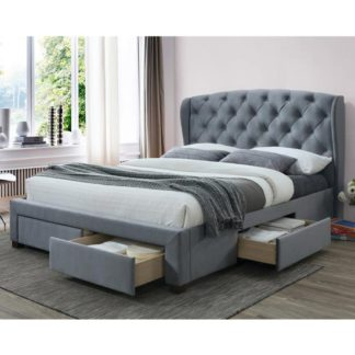 An Image of Hope Fabric Double Bed In Grey Velvet