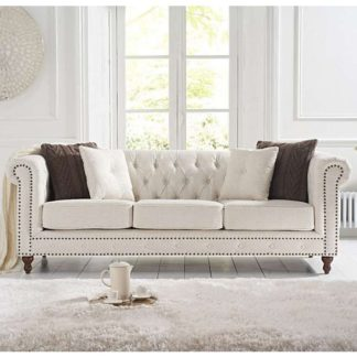 An Image of Propus Linen 3 Seater Sofa In Ivory