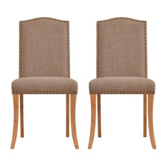 An Image of Evesham Beige Finish Dining Chair In Pair