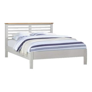 An Image of Tertia Stone Painted Wooden King Size Bed