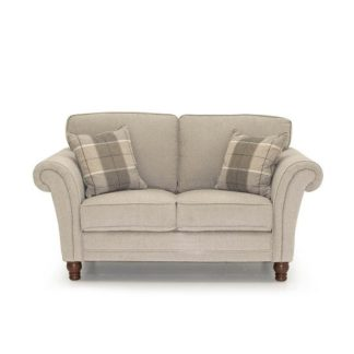 An Image of Colette Fabric 2 Seater Sofa In Pewter With Wooden Legs