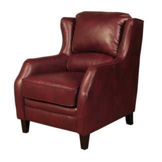 An Image of Halton ArmChair In Burgundy Leather Look Fabric With Wooden Legs