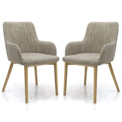 An Image of Zayno Fabric Dining Chair In Natural Tweed In A Pair