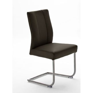 An Image of Alamona 1 Dining Chair In Brown Faux Leather