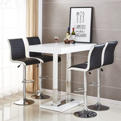 An Image of Caprice Bar Table In White High Gloss With 4 Ritz Black Stools