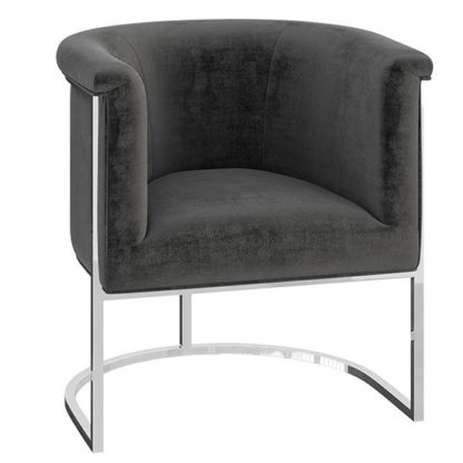 An Image of Martina Velvet Fabric Lounge Chair In Dark Grey